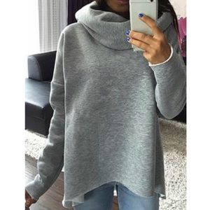 Cotton-blend Solid Cowl Neck Casual Sweatshirt